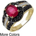 Malaika Yellow Gold Overlay Sterling Silver 2.46ctw Ruby and Black Spinel Ring