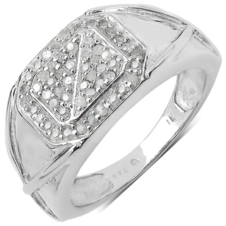 Malaika 14k White Gold over Sterling Silver Diamond Ring