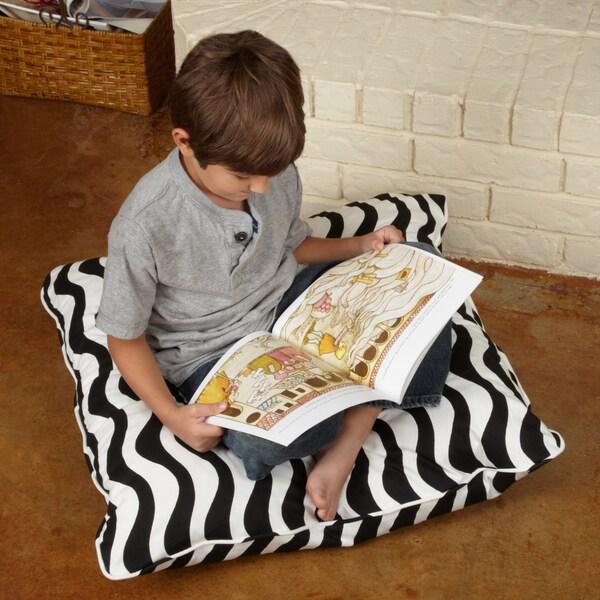 Isabella Black/ White Wave 28-inch Floor Pillow