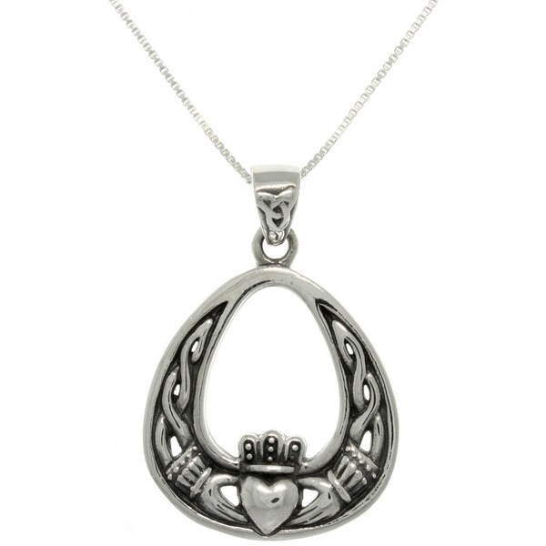 Carolina Glamour Collection Sterling Silver Celtic Claddagh Necklace
