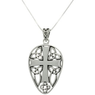 Carolina Glamour Collection Sterling Silver Celtic Cross and Knots Necklace