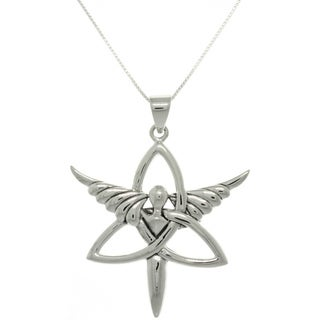Carolina Glamour Collection Sterling Silver Trinity Angel Necklace