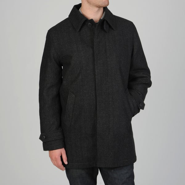 Geoffrey Beene Men's Gene Black Wool Blend Carcoat
