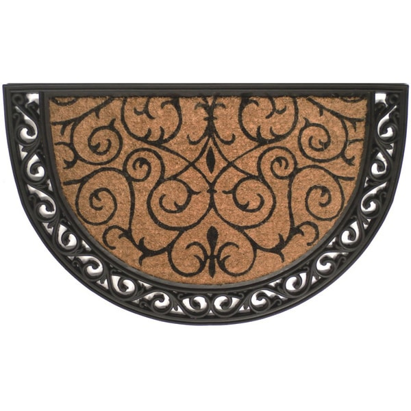 Tuff Brush Coir & Rubber Ornate Scroll Mat (2' x 3')