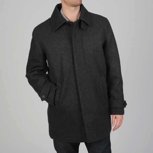 Geoffrey Beene Men's Gene Wool Blend Carcoat With Hidden Button Closure
