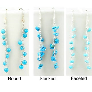Sterling Silver Faceted Turquoise Earrings (Mexico)