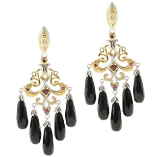Michael Valitutti Two-tone Black Onyx, Garnet and Ruby Dangle Earrings