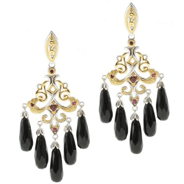 Michael Valitutti Two-tone Black Onyx, Garnet and Ruby Dangle Earrings