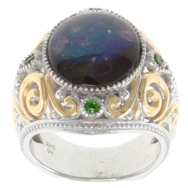 Michael Valitutti Two-tone Silver Ammolite Ring