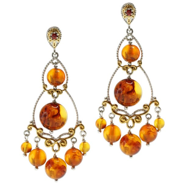 Michael Valitutti Two-tone Amber and Orange Sapphire Chandelier Earrings
