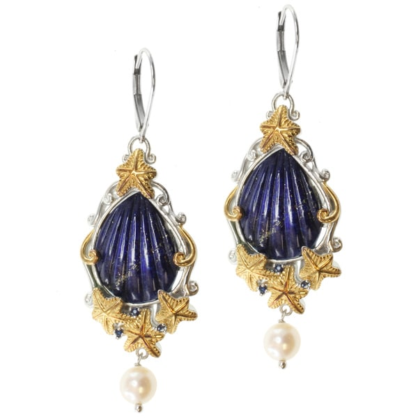 Michael Valitutti Two-Tone Lapis and White Pearl Dangle Earrings