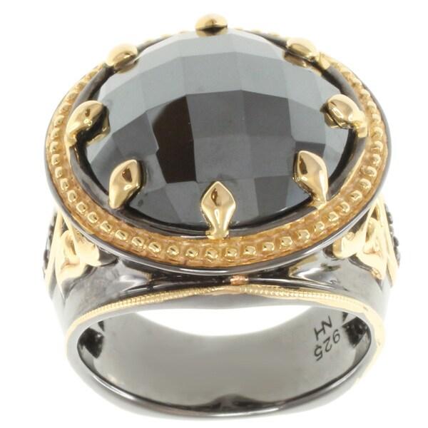 Michael Valitutti Two-tone Hematite and Blue Sapphire Men's Ring