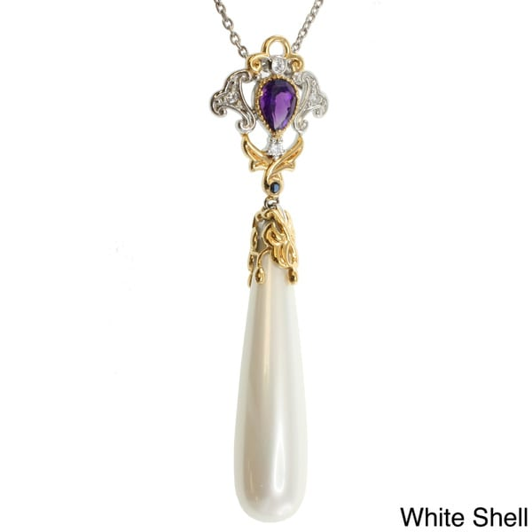 Michael Valitutti Two-tone Shell Drop and Amethyst Pendant Necklace
