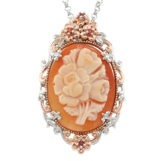 Michael Valitutti Two-tone Floral Cameo Pendant Necklace
