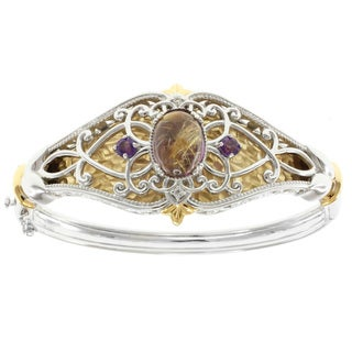 Michael Valitutti Two-tone Rutilated Quartz and Amethyst Hinged Bangle