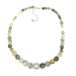 Pearlz Ocean Sterling Silver Botswana Agate Journey Necklace