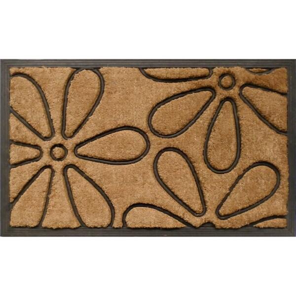 Tuff Brush Coir & Rubber Flowers Door Mat (1'6 x 2'6)