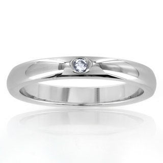 Stainless Steel High Polish Center Cubic Zirconia Ring