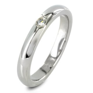 West Coast Jewelry Stainless Steel High Polish Center Cubic Zirconia Ring