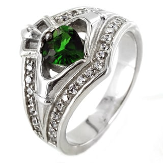 West Coast Jewelry Stainless Steel Claddagh Green Heart Cubic Zirconia Ring