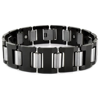 West Coast Jewelry Two Tone Tungsten Men's Link Bracelet