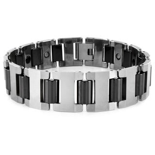Crucible Two Tone Tungsten Men's Link Bracelet