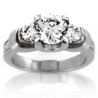 Stainless Steel Three-Stone Cubic Zirconia Ring