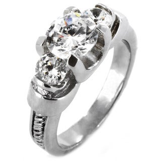 West Coast Jewelry Stainless Steel Three-Stone Cubic Zirconia Ring