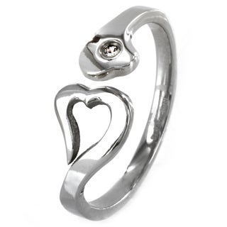 West Coast Jewelry Stainless Steel Heart Cubic Zirconia Promise Ring