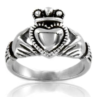 Elya Designs Stainless Steel Black Outlined Irish Claddagh Ring