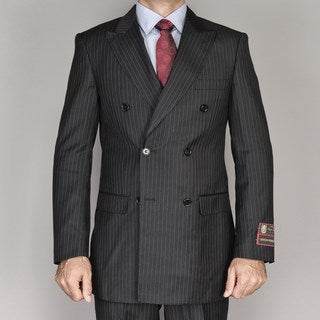 Giorgio Fiorelli Men's Black Pin Stripe Double Breasted Suit