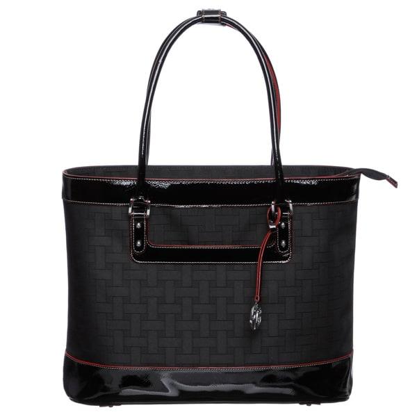 Johnston & Murphy 84-24331 Women's 'Mallory' Black Weave Pattern Laptop Tote Bag