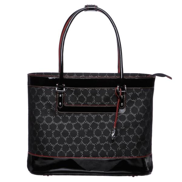 Johnston & Murphy 'Mallory' Black Multi Pattern Laptop Tote Bag