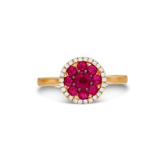 14k Yellow Gold Ruby and 1/10ct TDW Diamond Ring (I-J, I1-I2)