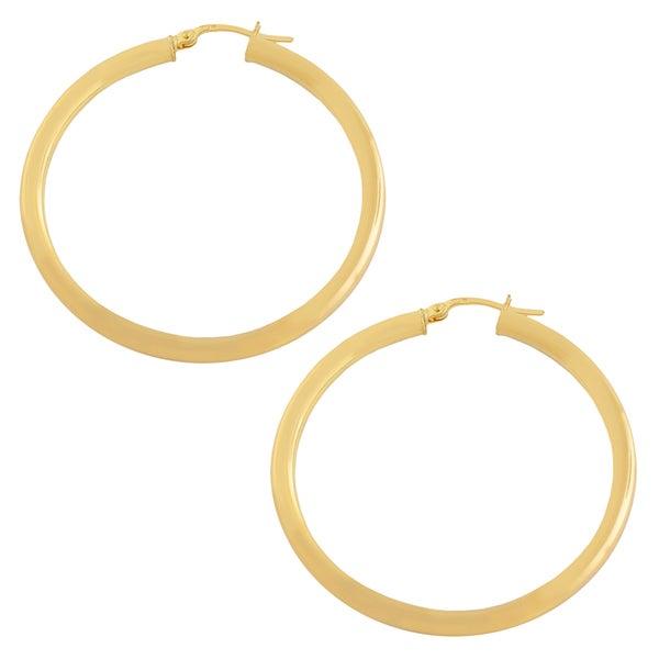 Fremada 14k Yellow Gold 35-mm Polished Tube Hoop Earrings