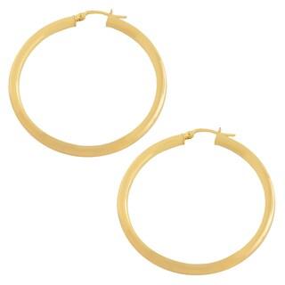 Fremada 10k Yellow Gold 35-mm Polished Tube Hoop Earrings