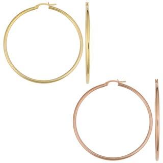 14k Gold Polished Tube Hoop Earrings