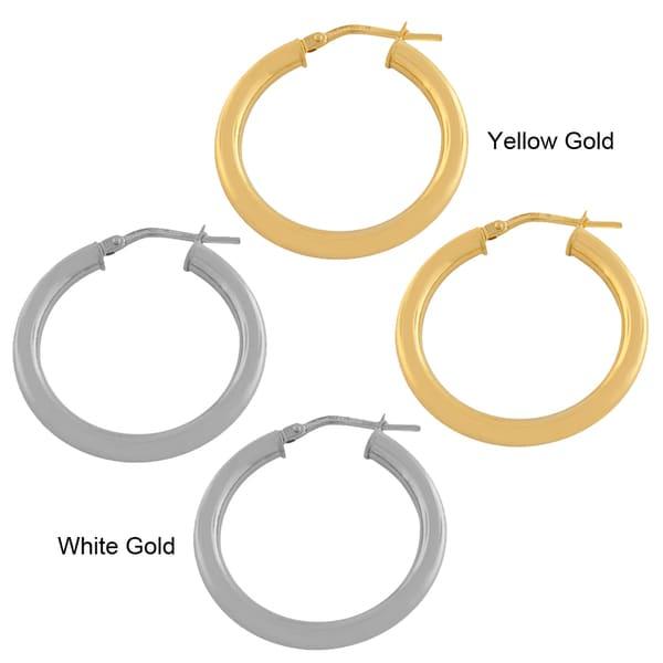 Fremada 14k Gold 3x20-mm Polished Tube Hoop Earrings