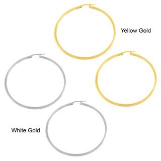 Fremada 14k Gold 2x35-mm Polished Tube Hoop Earrings