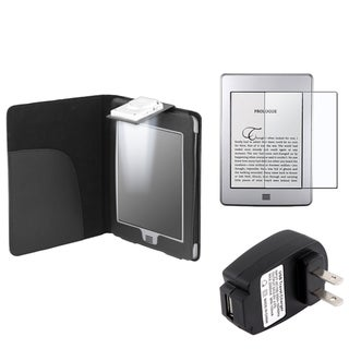 BasAcc Leather Case/ Screen Protector/ Charger for Amazon Kindle Touch