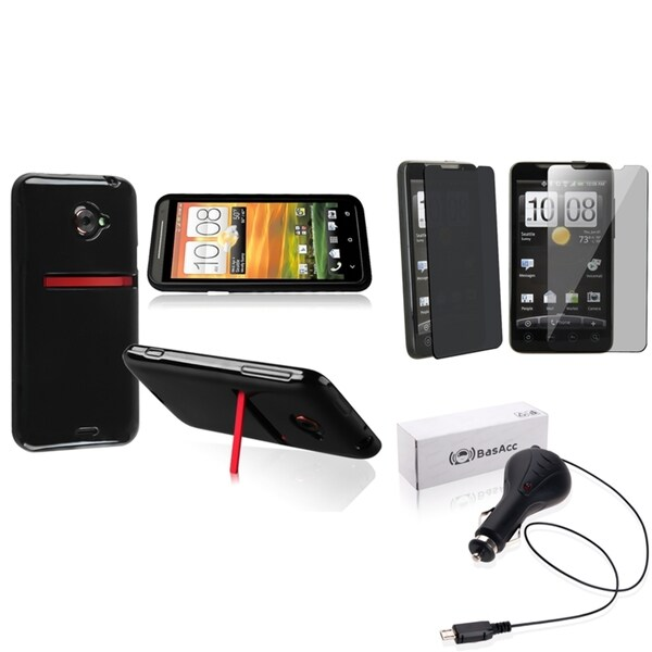 BasAcc TPU Case/ Privacy Protector/ Car Charger for HTC EVO 4G LTE