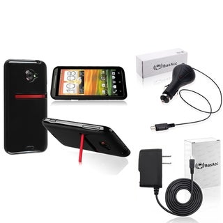 BasAcc Black TPU Case/ Travel/ Car Charger for HTC EVO 4G LTE