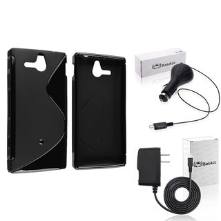 BasAcc Black TPU Case/ Travel/ Car Charger for Sony Xperia U ST25i