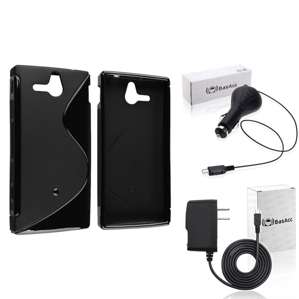 INSTEN Black TPU Case Cover/ Travel/ Car Charger for Sony Xperia U ST25i