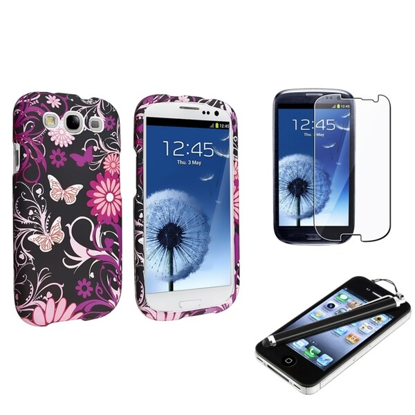 INSTEN Pink Butterfly Rubber Phone Case Cover/ Screen Protector/ Stylus for Samsung Galaxy SIII/ S3
