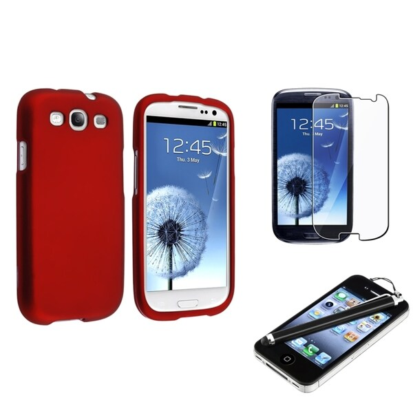 INSTEN Red Phone Case Cover/ Screen Protector/ Stylus for Samsung Galaxy SIII/ S3