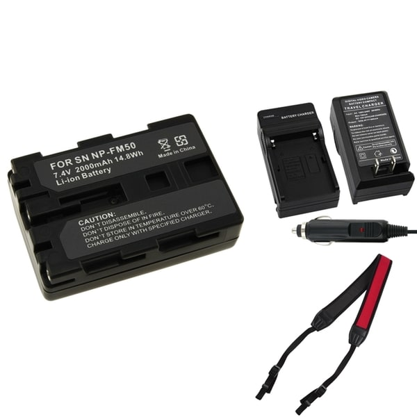 INSTEN Battery Charger/ Li-ion Battery/ Strap for Sony NP-FM50