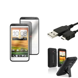 BasAcc Black Case/ Mirror Screen Protector/ Cable for HTC EVO 4G LTE
