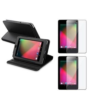 BasAcc Black Leather Swivel Case/ Screen Protector for Google Nexus 7