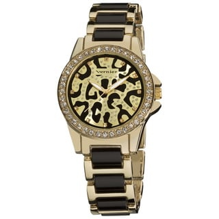 Vernier Ladies Fashion Leopard Print Genuine Crystal Stones Bracelet Watch
